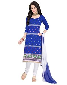 #Gorgeous #Blue & #White #Colored #Embroidered  #Dress Material