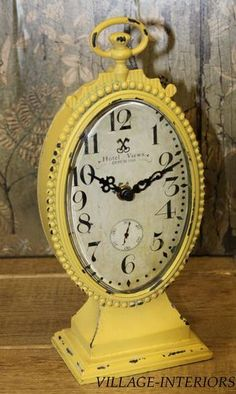 Hotel Dupuis Paris Chic Shabby Vintage Yellow Filigris Metal Mantle Table Clock | eBay