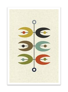 OPPOSITES  Giclee Print  Mid Century Modern Danish by Thedor, $24.00