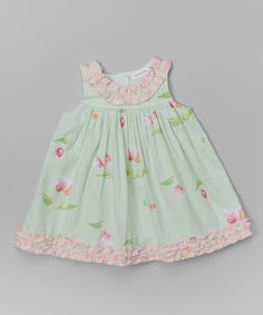 This Fifi & Otto Green & Pink Floral Ruffle Empire-Waist Dress - Infant & Toddler by Fifi & Otto is perfect! #zulilyfinds