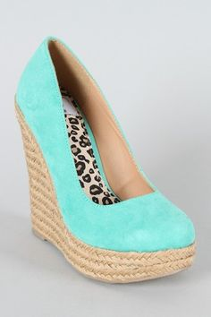Want want need! tiffany blue pumps with hemp wedges!
