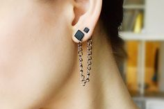 Hey, I found this really awesome Etsy listing at https://www.etsy.com/listing/226432499/black-double-piercing-earring-double