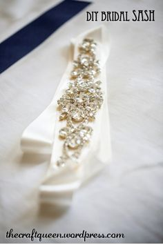 Yay, it's time to show you another one of the projects from our [almost] completely DIY wedding! Today's tutorial will highlight my DIY bridal sash. I can't even tell you how much time I spent sco. Diy Wedding Belt, Wedding Dress Sash, Applique Wedding Dress, Our Wedding, Wedding Ceremony, Wedding Dresses, The Knot, Bridal Sash Belt, Bridal Belts