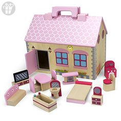 """This craft cottage redefines what it means to be a """"mobile"""" home! Pack up your furniture and dolls, grab the handy handle, and the Take-Along Country Cottage is ready to go! The cottage's exterior is rustic and cozy, with a quaint garden, picture . Toys For Little Kids, Pink Furniture, Four Rooms, Cottage Exterior, Wooden Dollhouse, Mobile Home, Diy Doll, Doll Accessories, Bird Houses"""