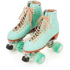 Moxi Teal Roller Skates ❤ liked on Polyvore featuring shoes, filler, skates and sports