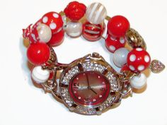 Red and White Beaded Valentines Day Watch  by BeadsnTime on Etsy