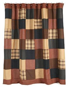 New Primitive Patriotic Patch Americana Patchwork Quilt Fabric Shower Curtain #YHD #Country