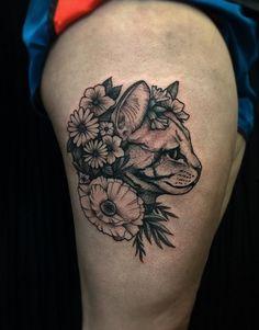 floral cat tattoo