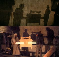 Harrison Ford and John Rhys-Davies carry the ark at what is probably the lightest it has ever been. There's something incredibly charming about knowing such a classic movie magic technique was used on this film.  Source: aintitcool.com