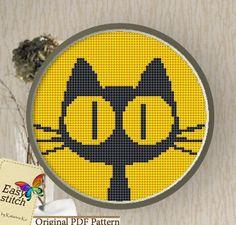 Yellow Cat.Cross stitch Pattern PDF by EASY8STITCH on Etsy