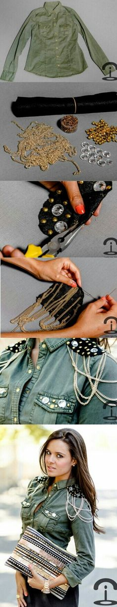 DIY | Military Green Button-Down Shoulder Chains       #Refashion #MilitaryGreenButton-DownShoulderChains #ArcadiaAttire|RepurposeMeBoard