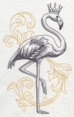 Embroidered Flamingo In Crown Hand Towels 2 Pc White Flamingo Craft, Flamingo Decor, Pink Flamingos, Love Tattoos, Small Tattoos, Retro Tattoos, Machine Embroidery Designs, Hand Embroidery, Crown Painting
