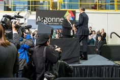 Ann Schlenker, Director of Argonne's Center for Transportation Research, welcomes President Obama to the podium during his visit to the lab on March 15, 2013.