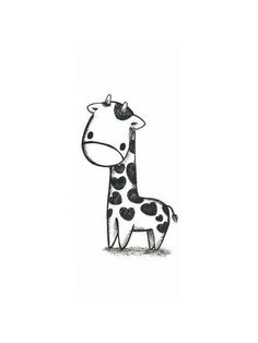 Kawaii giraffe black and white Cute Giraffe Drawing, Cute Tattoos, Easy Drawings, Easy Animal Drawings, Easy Sketches, Cute Little Drawings, Cute Art, Tatting, Cute Animals