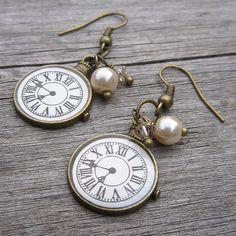 Bronze NecklaceEarrings Time Clock Set