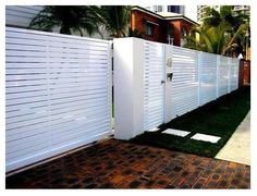 7 Marvelous Useful Ideas: Above Ground Pool Fence modern fence interior.Spruce Up Chain Link Fence pool fence trellis.Vinyl Fence And Gates. Tor Design, Gate Design, House Main Gates Design, Design Case, Front Yard Fence, Fenced In Yard, Fence Gate, Gabion Fence, Pallet Fence