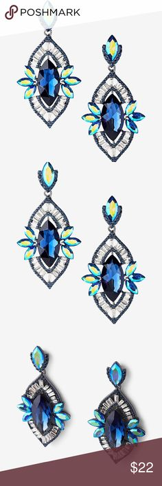 """Oblong Teardrop Earrings Make a statement in these oblong earrings that draw the eye with a dazzling array of bold, bright stones. - Post back drop earrings - Stone accents - Oblong shape - 3"""" long - Glass / Zinc - Lead and nickel free Express Jewelry Earrings"""