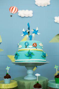Bolo - Festa de Aniversário Cataventos e Balões