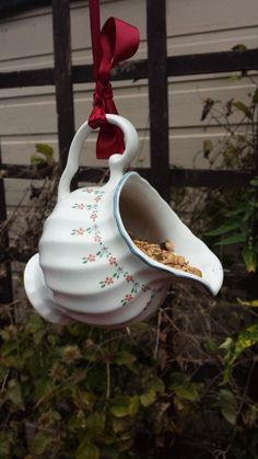 Quirky bird feeder, vintage china jug up-cycled garden bird feeder/ornament. Pretty gift, cottage garden decor. Bird lover's gift. - pinned by pin4etsy.com #Cottagegardens #vintagegardening