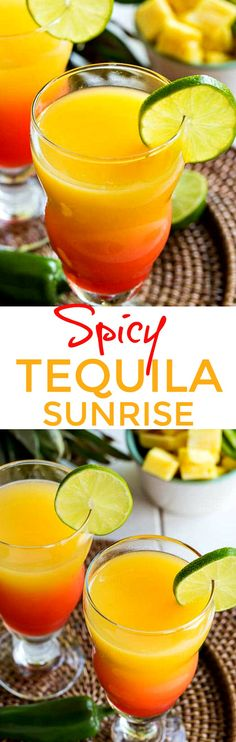 Spicy Tequila Sunrise made from tequila infused with fresh pineapple chunks and jalapeno is a colorful drink to celebrate Cinco de Mayo!
