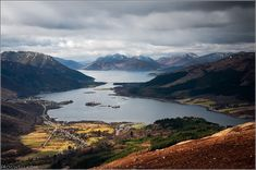 glencoe village beside loch leven and loch linnhe in the background, the scottish highlands