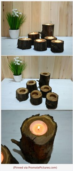 Wooden candle holders SET, Rustic home table decor, Tree branch candle holders, Tea light, Wooden party lights idea Barn wedding centerpiece https://www.etsy.com/CustomGiftsWood/listing/586805298/wooden-candle-holders-set-rustic-home?ref=listing_published_alert  (Pinned using https://PromotePictures.com)