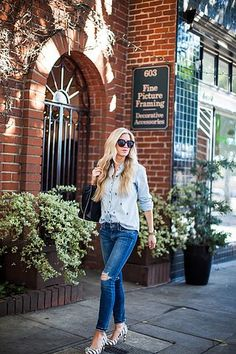 NAVY GINGHAM TOP | WHITE PANTS | CHAMBRAY TOP | NAVY TENNIS SHOES | SUNGLASSESBLACK & WHITE STRIPED TOP | DISTRESSED JEANS | LEOPARD FLATS (SIMILAR HERE) | STROLLERWHITE EYELET TOP | DISTRESSED JEANS