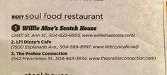 Nola Best Soul Food Restaurants Willie Mae's Scotch House, L'il Dizzy's, The Praline Connection