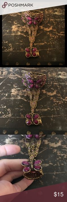 Butterfly bracelet and ring Beautiful gold & purple butterfly bracelet and ring. Jewelry Bracelets