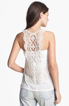 Painted Threads Crochet Back Pointelle Tank (Juniors) available at #Nordstrom