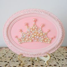 Pearl princess crown art. Mosaic wall art. Pastel pink. Painted ornate frame. Shabby chic girls room. Sparkle glitter picture. on Etsy, $45.00
