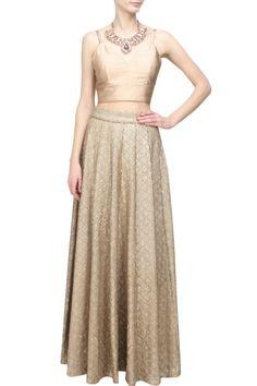 Pernia Qureshi - Rose gold sequins embellished skirt and crop top set