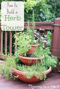 How to Build a Herb Tower Garden- DIY vertical planter using containers for decks or patio.  Perfect project for small spaces.  Details and complete picture step by step instructions on Running in a Skirt.