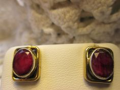 Vintage Art Deco 2.50ctw GENUINE Oval Cut Rose Red Ruby Two-Tone Sterling Silver 925 Stud Earrings, Wt. 3.2g by TamisVintageShop on Etsy
