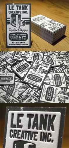 Le Tank Creative:  Vintage 1960s 8mm letterpress business card printed on 236lb 100% cotton paper.