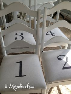 Chairs numbered 1, 2, 3, 4