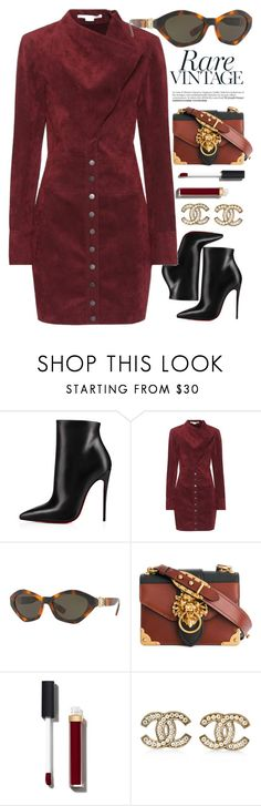 """Dark Red"" by smartbuyglasses-uk ❤ liked on Polyvore featuring Christian Louboutin, STELLA McCARTNEY, Versace, Prada, Chanel and red"