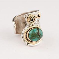 argent massif et turquoise bague décorée - pierres précieuses bijoux