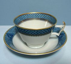 NEW Mottahedeh Indigo Wave Cup & Saucer