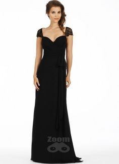 Noir luminescent A-line wrap bridesmaid gown, Black lace cap sleeve with keyhole back. Bridesmaid Dresses Ireland, Cheap Bridesmaid Dresses, Bridal Wedding Dresses, Bridesmaids, Jim Hjelm Occasions, Cap Sleeves, Custom Made, Gowns, Formal Dresses