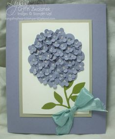 Astounding punch art hydrangea - little punches from the Itty Bitty Punch Pack rumpled up and adhered overlapping, and then each one dotted with Dazzlin' Details glitter glue. Paper Punch Art, Punch Art Cards, Flower Cards, Paper Flowers, Diy Flowers, Hydrangea Flower, Hydrangeas, Scrapbook Paper Crafts, Scrapbook Cards