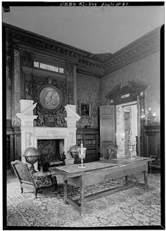 The Elms: The Library borrows design elements from the Italian renaissance. The fireplace incorporates a terra cotta Madonna by Giovanni della Robbia. JC