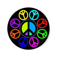 PEACE COLOR WHEEL ROUND STICKER - Happy world peace day. #peace #nowar #mercy #faith #believe