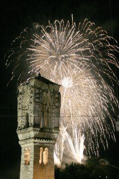 Comacina Island (Lake of Como). Fireworks during the San Giovanni Festival, 23 june