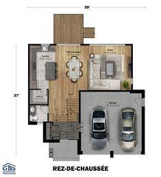 Plan du modèle Two Story House Plans, New House Plans, Small House Plans, House Floor Plans, Best Modern House Design, Small House Design, L Shaped House Plans, Facade House, Minimalist Home