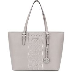 Michael Michael Kors Jet Set Travel tote (€305) ❤ liked on Polyvore featuring bags, handbags, tote bags, grey, leather tote handbags, zip top leather tote, grey tote bag, quilted tote bags and handbags totes