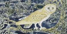 'Barn Owl in front of Tarrant Monkton village' by Rena Gardiner Graphic Prints, Art Prints, Barred Owl, Bird Illustration, Illustrations, Owl Art, Art Sketchbook, Printmaking, Art Projects