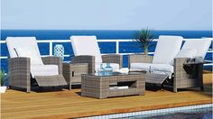 Hampton 5 Piece Outdoor Recliner Lounge Suite - Outdoor Lounges - Outdoor Living - Furniture, Outdoor & BBQs | Harvey Norman Australia