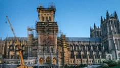 """The Decades-Long Journey to Restore the National Cathedral Craftspeople in the building arts are practicing """"social distancing stone masonry"""" in safeguarding this cultural heritage Flying Buttress, Washington National Cathedral, Stone Masonry, Building Art, Travel Magazines, Restore, Restoration, Old Things, Tower"""