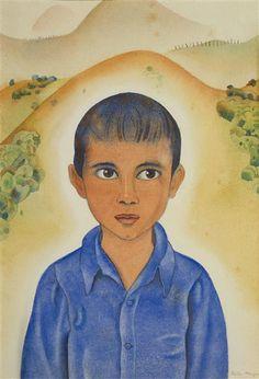 Head Of A Māori Boy, New Zealand, by artist Rita Angus. New Zealand Art, Nz Art, Illustrations And Posters, Figure Painting, Mystic, Mona Lisa, Disney Characters, Fictional Characters, Childhood